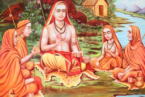 adi shankaracharya with Hastamalaka & other disciples