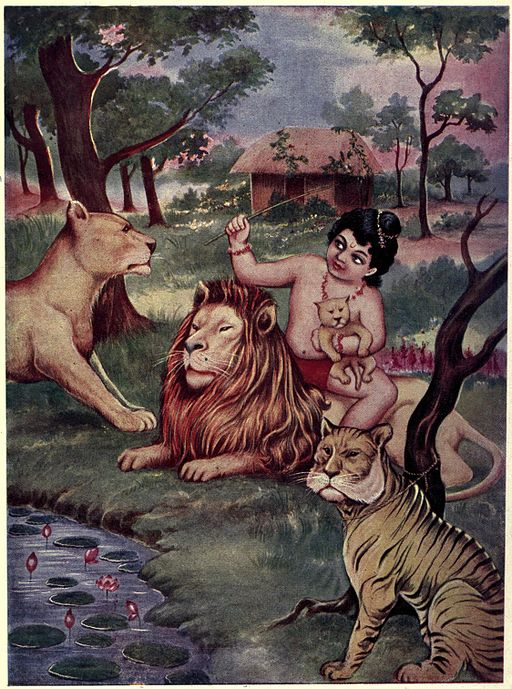 Child Bharata Playing with Young Cubs