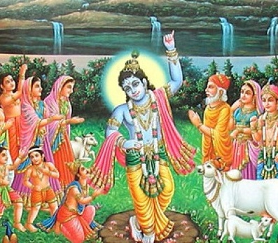 Lord Sri Krishna Lifting Govardhana Giri